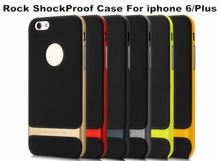 New Unique ROCK Case For Apple 6 Hybrid TPU+PC Hard Back Cover Metalic Color Hot Selling For iPhone 6 Plus 5.5inch Shockproof