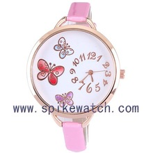 Pink color round alloy case butterfly dial pattern big face watches for women
