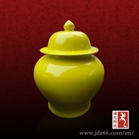 Yellow glzed home decor porcelain unique honey jars for hot sale made in China