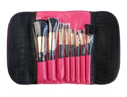 8pcs black oem nylon/synthetic/taklon makeup brush set/cosmetic brushes kit/private label free sample with make up pouch