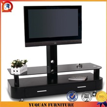 New design 8mm tempered glass rotating lcd tv stand