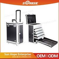 Sunrise Hairdressing Portable Trolley Aluminum Cosmetic Case