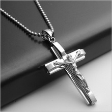 Yiwu Aceon Stainless Steel Jesus on Cross Pendant For Christian