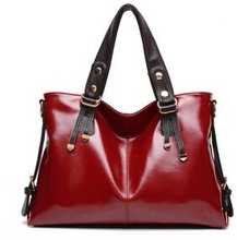 China fashion oil leather PU hand bag alibaba supplier fancy women shoulder bags