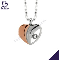 Wooden color heart shape stainless steel necklace with zircon