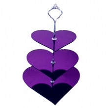 Great Packing Light Purpe Plastic 3 Tier Heart Shape Wedding Cake Stands