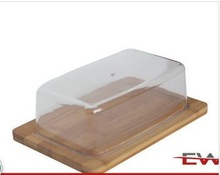 Good quality bamboo serving tray with plastic cover,hot sell food tray