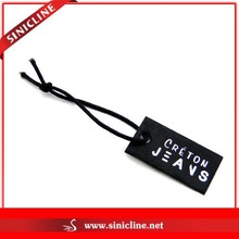 Sinicline Black Leather Jeans Hang Tag with Silver Lettering