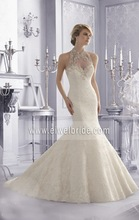 Sexy high neck crystal applique back see through latest wedding gown designs