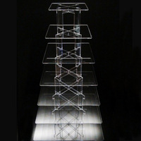 7 tiers clear acrylic square wedding cake stand