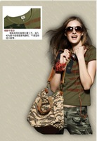 2015 summer new women's fashion uniformed army green v-neck short sleeve T-shirt women