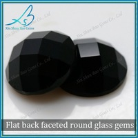 Glass flat back faceted round industrial black diamond carat