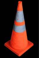 Retractable flashing Roadwork/Worksite PP traffic Cone with reflective bands 700mm