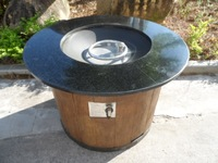 "outdoor 36"" round gas fire pit with marble table"