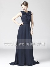 DJ13 Elegant Pleated See Through Back Floor Length Chiffon big ass in Evening Dress Photos