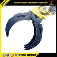 360 swing right & swing left movement excavator hydraulic wood grapple