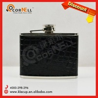 Black PU Leather wrapped Stainless Steel Steel Manufacturers and Supplier Hip Flask