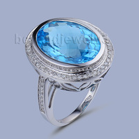 Bezel Setting Oval Topaz Ring,14Kt White Gold Natural Diamond Blue Topaz Engage Ring Top Sale SR00153