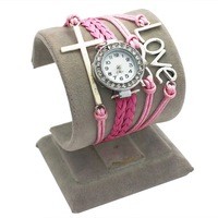 leather love watch, new products on china market fashion pink band cross charm leather love watch