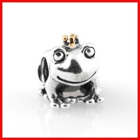 high quality cute animal frog charm 925 silver big hole silver beads fit snake chain