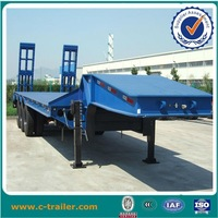 Shandong steel material 3 axles 60-ton 12 wheeler low bed trailer truck for hot sale