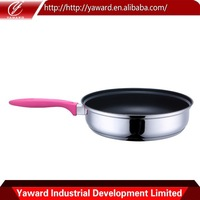 Stainless Steel Colored Detachable Handle Pressed Aluminium White Ceramic Frying Pan