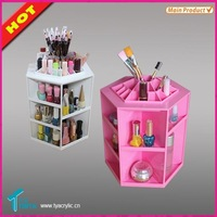 Wholesale Patented Deluxe Rotating Plastic Cosmetic Nail Polish Organizer Holder Acrylic Makeup Display for Lipstick