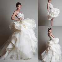 2015 New Style A-line Scoop Sleeveless Sexy Back Mini Short wedding dresses with Detachable Train WD1525
