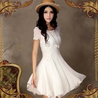 WA1138 Hefei mosen hot selling products 2015 new Korean Women Slim chiffon lace round neck short-sleeved dress