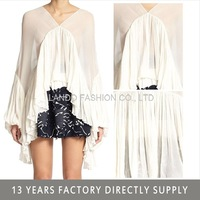 summer new special design chiffon ruffle lady top and blouse 2015