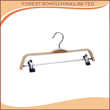 Wholesale high quality metal hook clothes pant wooden hanger/plywood laminated wood trousers hanger