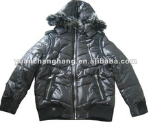 Men's Fashion Winter Jacket with Genuine Fur trim Hoody Style Leather patch