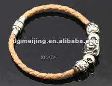 Genuine Braided Leather Cord Jewelry with Stainless Steel Rose Flower Beads Decoration SSB-038
