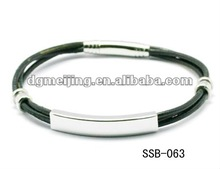 High Polished Stainless Steel Black Leather Cord Bracelet with Connector SSB-063