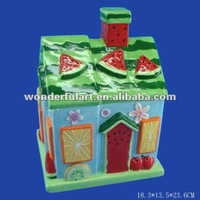 cute home ornament waterwelon doll house ceramics