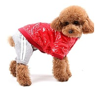 Red windproof&waterproof winter Warm Dog Leather Coat and Detachable Pants