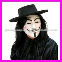 fashion plastic red cheek set hat hair v for vendetta mask for sale
