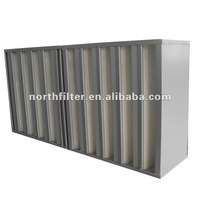 V-BANK mini-pleat hepa filter in galvanized steel frame glass microfiber filter media