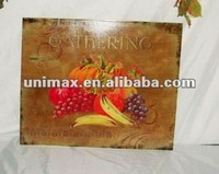 Retro metal fruit wall plaque