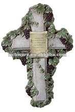 grass religious polyresin cross decoration