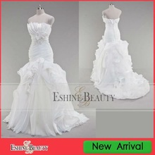 WRD12430 Stunning real sample strapless frill collar organza pleated wedding dress 2012