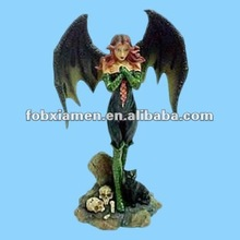 Novelty Resin Sexy Witch with Bat Wings Halloween Figurine