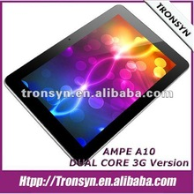 "2012 AMPE A10 10.1"" Qualcomm Dual Core 3G Android Tablet PC Support 3G,Cell Phone,Bluetooth,GPS"