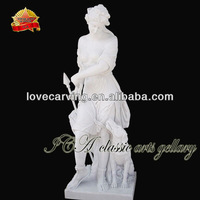 White stone lady sculpture with dog for garden