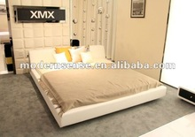 PRETTY WHITE BED, Big headboard ,bed bedroom furniture-modern soft bed (3020#)