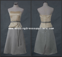 L6020 Tea Length Strapless Two Piece Satin Mother of the Bride Dress Silver