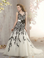New Charming Floor length black lace wedding dresses 2013