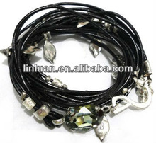 leather wrap bracelet with crystal and silver charms
