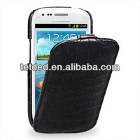 TETDED Premium Leather Case for Samsung Galaxy S3/SIII Mini I8190 -- Troyes (Wild: Black Duo Croc)