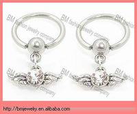 316L stainless steel dangle wings fake nipple ring non piercing body jewelry